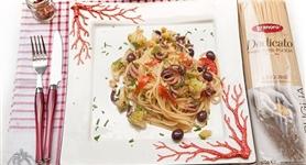 Linguine Granoro con broccolo romanesco, moscardini e olive - IdeeRicette.it